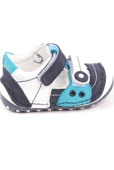 Akıllı Şirin Deri Tam Otopedik İlkadım Erkek Bebek Ayakkabı Mavi Lacivert Beyaz 20