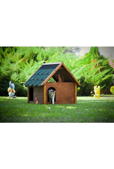 Mandu Ahşap Teraslı Dublex Kedi Evi