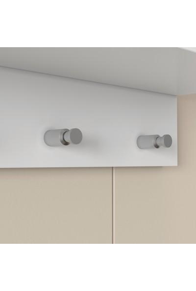 Rani P1 Modern Duvar Askısı Portmanto Askılık Beyaz Vestiyer M2