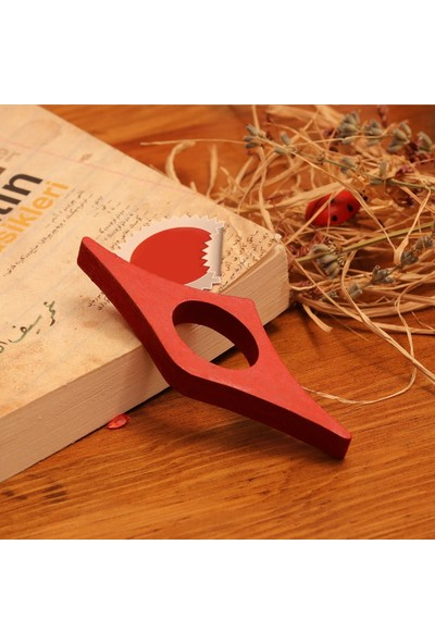 Ahşap Şehri Özel Tasarım Ahşap Kitap Okuma Yüzüğü Kırmızı