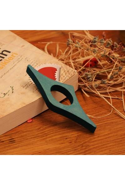 Ahşap Şehri Özel Tasarım Ahşap Kitap Okuma Yüzüğü Mavi