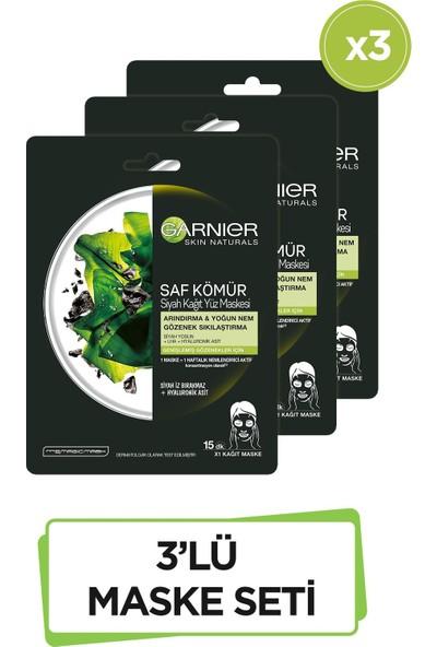 Garnier Siyah Yosunlu Gözenek Sıkılaştırıcı Kağıt Yüz Maskesi 3'lü Set
