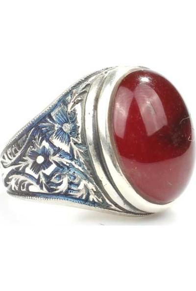 Nusret Takı 925 Ayar Gümüş Kırmızı Sıkma Kehribar Taşlı Kalemkar Erkek Yüzüğü