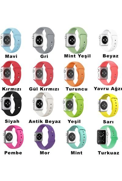 Kyver Apple Watch Kordon 1 2 3 4 5 Seri 38 mm-40 mm Silikon Kayış Gül Kırmızı