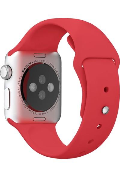Kyver Apple Watch Kordon 1 2 3 4 5 Seri 42 mm-44 mm Silikon Kayış Gül Kırmızı