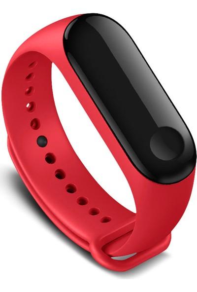 Kyver Xiaomi Mi Band 3 - Mi Band 4 Akıllı Bileklik Kordon Kayış Kırmızı