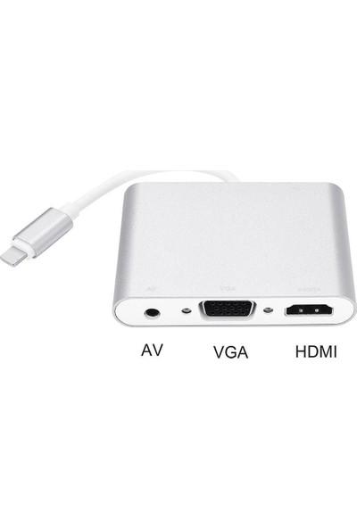 CoverZone Apple iPhone & iPad 3 In 1 Lightning To HDMI + VGA + Audio Kablo Dönüştürücü Adaptör