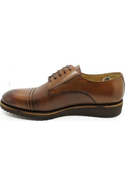 Serdar Yeşil Büyük Numara Bağcıklı Taba Erkek Deri Ayakkabı