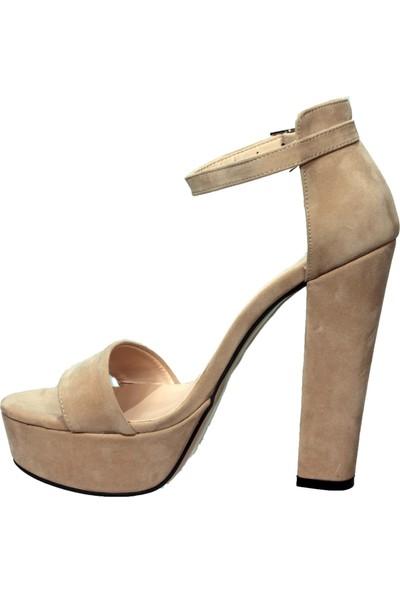 Uraz Ten Süet Abiye Yüksek Platform Topuk Ayakkabı