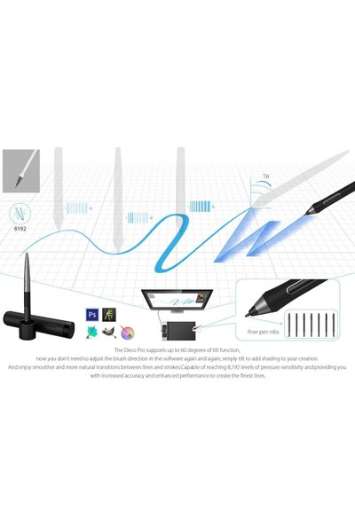 """Xp-Pen Deco Pro Medium 15.74X8.94"""" 8192 Basınç Kalemli Grafik Tablet"""
