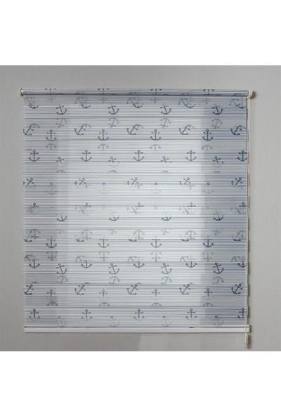 Odeon Mavi Çapalı Zebra Stor Perde 100 x 200 cm