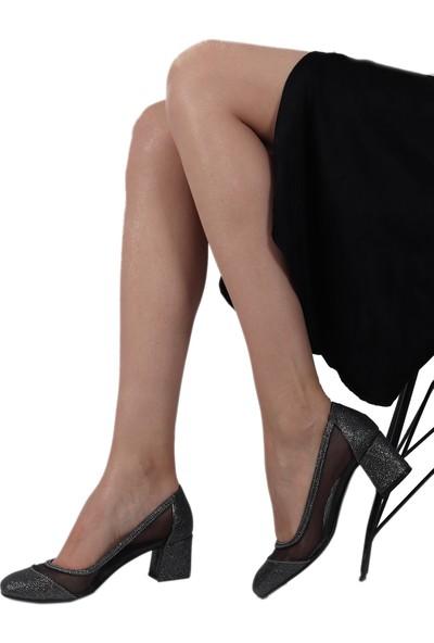 Trendbu Gri Pullu Kadın Topuklu Ayakkabı