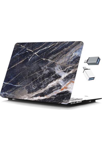 Yeni MacBook Air Kılıf A1932 A2179 13 inç Uyumlu USB-C Hediyeli Özel Kutulu Ürün Marble 06
