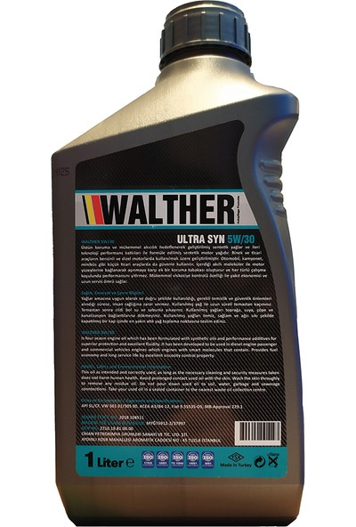 Walther Ultra Syn 5W/30 Sentetik Motor Yağı
