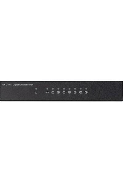 ASUS GX-U1081 10/1000/1000 Mbps Gigabit Premium 8Port %80 Enerji Tasarruflu VIP Port Destekli Switch