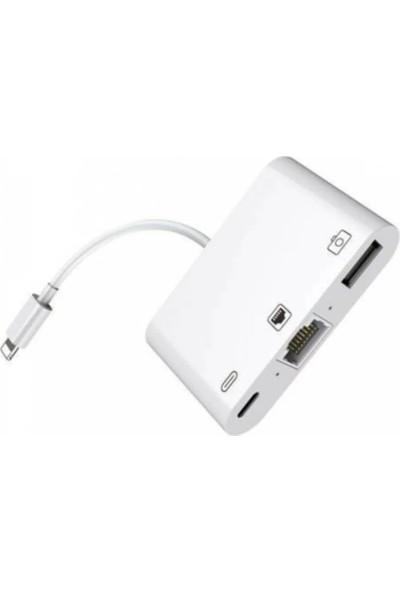 Mobitell Lightning 3in1 Ethernet RJ45 ve USB Kamera Adaptörü