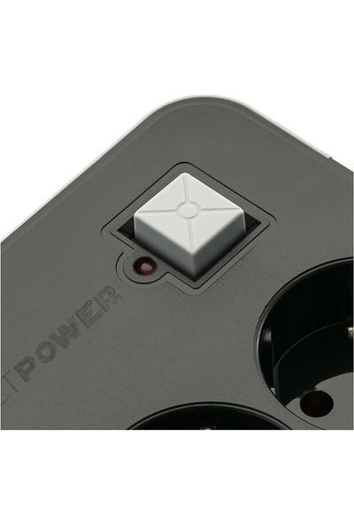 MF Product Jettpower 0369 Akım Korumalı 3 USB'li 3'lü Grup Priz 2 m Uzatma Kablosu Siyah