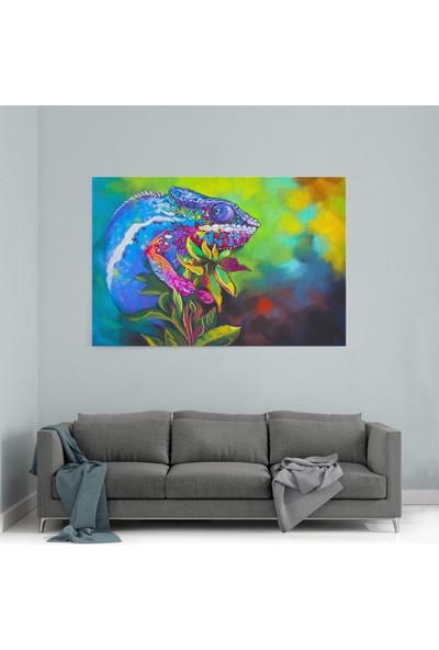 Shop365 Yağlı Boya Görünümlü Çiçek Üzerinde Mavi Bukalemun Kanvas Tablo 180 x 120 cm SA-2102