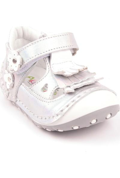 Akıllı Şirin İçi Dışı Komple Deri Tam İlkadım Bebek Ayakkabı Beyaz Gümüş
