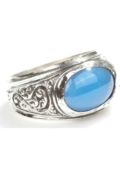 Nusret Takı 925 Ayar Gümüş Oval Mavi Taşlı Erkek Yüzüğü