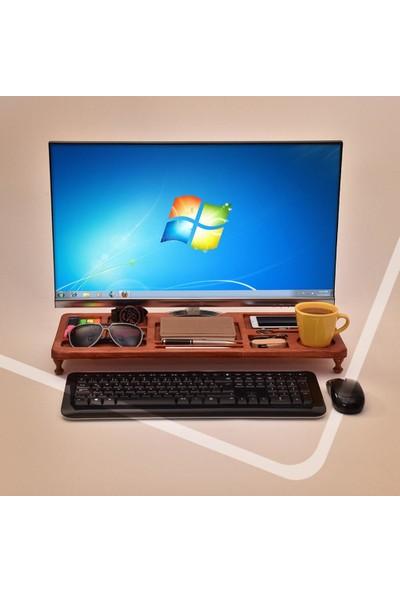 Ahşap Şehri Ahşap Ofis Organizer Mini Bilgisayar Sehpası Çalışma Masası Koyu Kahverengi