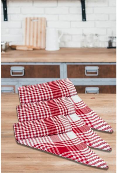 Pöti Kareli 3lü Mutfak Kurulama Bezi Kırmızı 45X65 cm