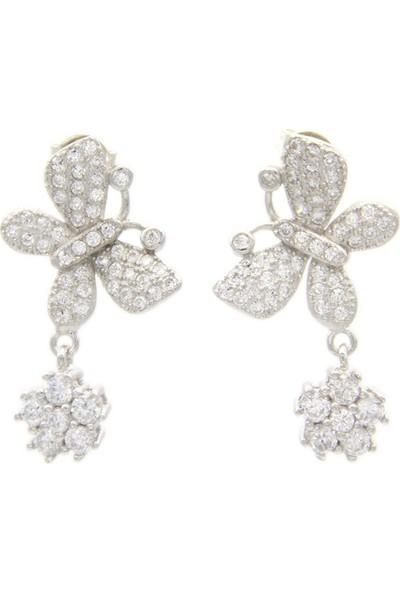 Estel Kanadı Çiçekli Kelebek Gümüş Küpe