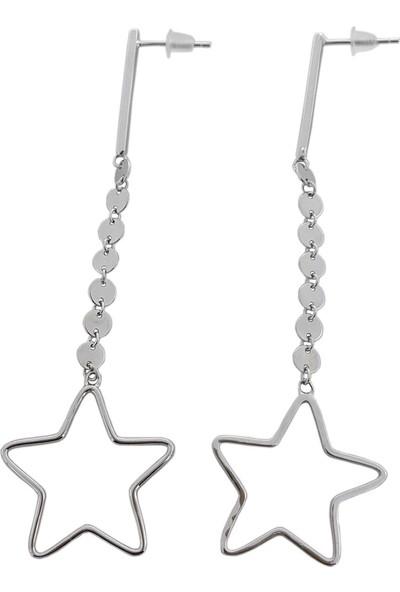 Estel Gümüş Pullu Yıldız Uzun Küpe