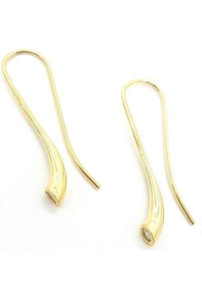 Estel Altın Sarısı Gümüş Trompet Küpe