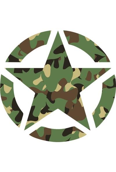 Sticker Fabrikası Yeşil Kamuflaj Asker Yıldızı Sticker 00181
