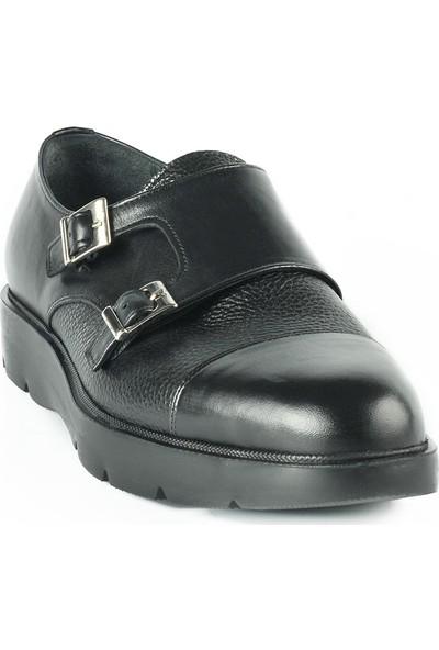 J Club Deri Çift Tokalı Siyah Erkek Ayakkabı