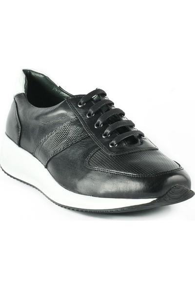 J Club Deri Sneaker Siyah Erkek Spor Ayakkabı