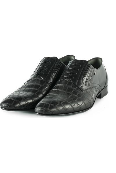 J Club Deri Kroko Desenli Kösele Siyah Erkek Ayakkabı