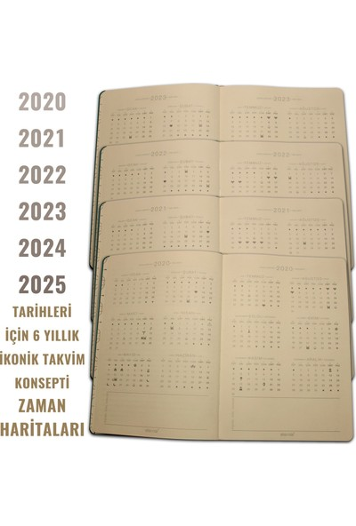 Eternal Minimal BORDO Bullet Journal 2020-2025 Tarihli A5 Noktalı Defter