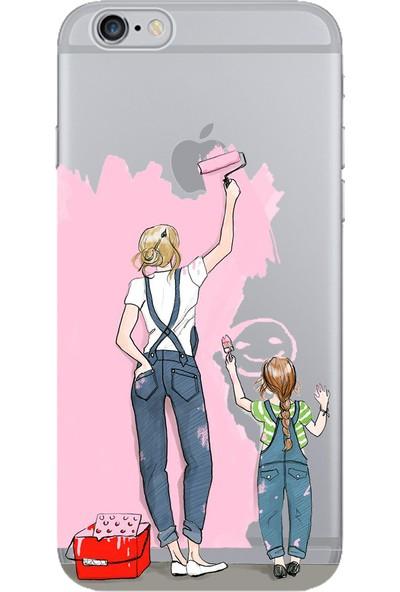 lamobil Apple iPhone 6 / 6S Aile Desenli Silikon Telefon Kılıfı