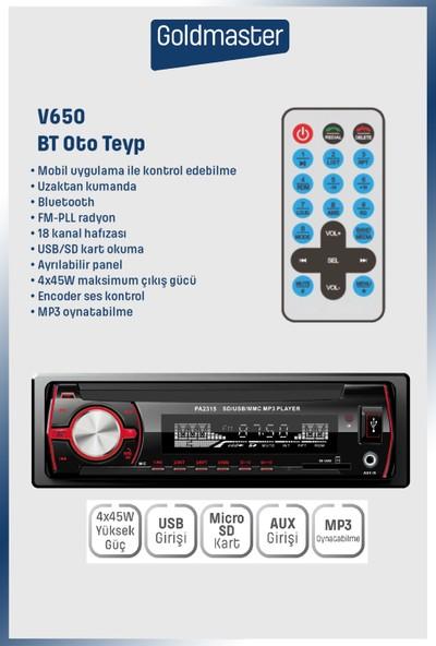 Goldmaster V650 Uzaktan Kumandalı Bluetooth Mp3 Özellikli Oto Teyp