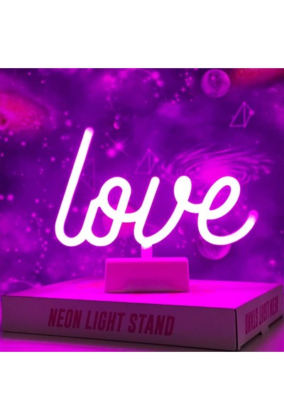 Patladı Gitti Dekoratif Love Neon LED Gece Lambası