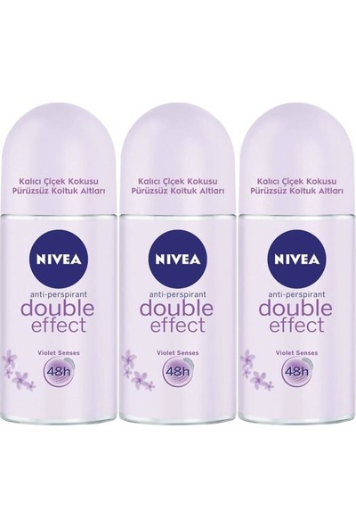 Nivea Double Effect Kadın Deodorant Roll-On 50 ml 3'lü