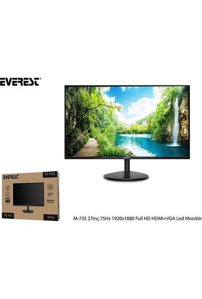 "Everest M-735 27"" 75Hz 5ms (HDMI+VGA) Full HD LED Monitör"