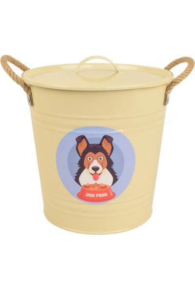 Köpek Maması Saklama Kabı Metal Kulplu Krem