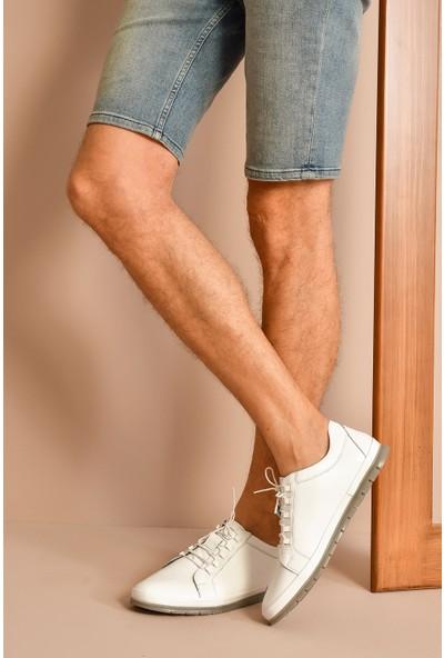 Ziya Erkek Deri Ayakkabı 101165 724 Beyaz