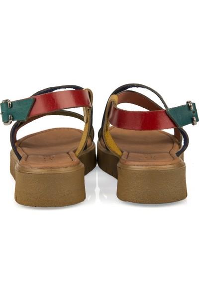 Uniquer Kadın Deri Sandalet 101354U 334 Multi