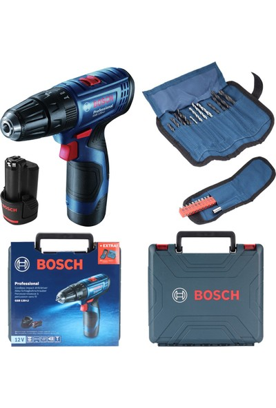 Bosch Professional Gsb 120-LI 2 Ah Akülü Darbeli Delme Vidalama + Aksesuar Seti
