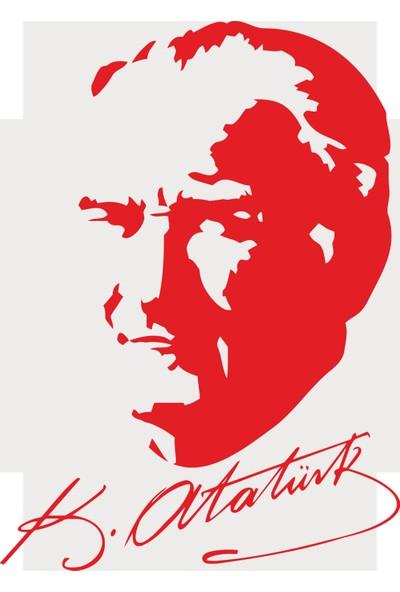 Oracal Atatürk Portre Imza 100 x 73 Kırmızı Duvar Sticker