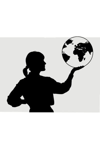 Oracal Dünya Elimde 100 x 87 Siyah Duvar Sticker