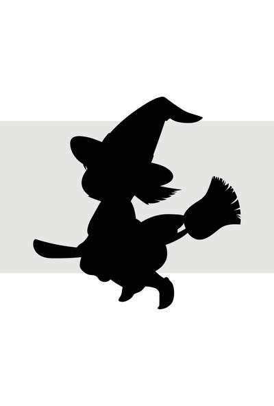 Oracal Süpürgeli Cadı 120 x 122 Siyah Duvar Sticker