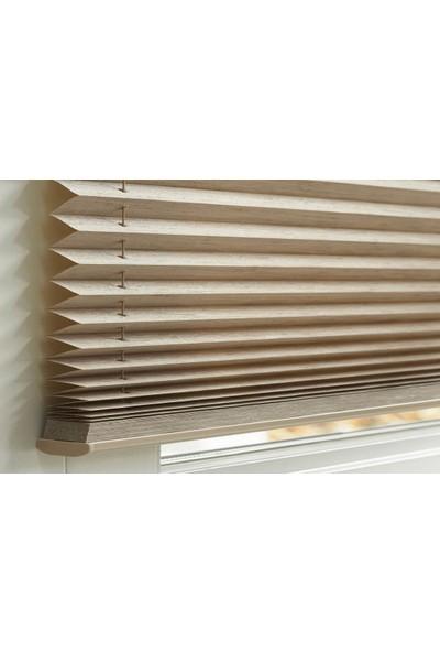 Erikmann Cam Balkon Perdesi Yapıştırmalı Plise Perde Bronz Profil Koyu Kahve Kumaş 45 x 140 cm