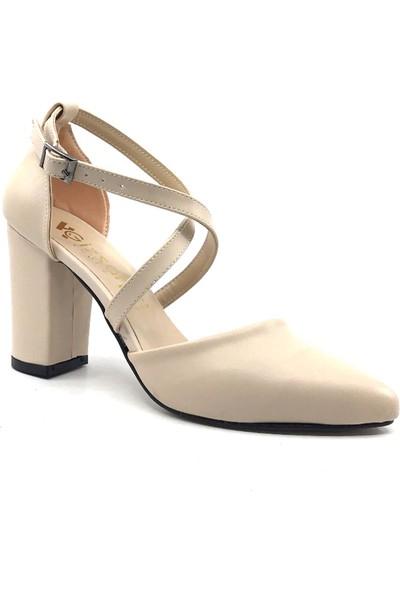 Gizsah Ten Karnıyarık 8 cm Çapraz İplikli Topuklu Cilt Kadın Günlük Ayakkabı