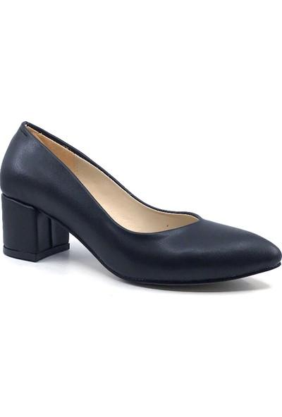 Gizsah Siyah Cilt 5 cm Topuklu Günlük Yazlık Kadın Ayakkabı