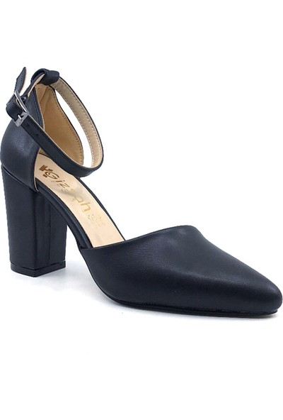 Gizsah Siyah Cilt Karnıyarık 9 cm Topuklu Günlük Yazlık Kadın Ayakkabı